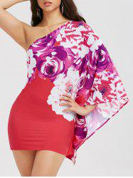 One Shoulder Floral Bodycon Dress - RED
