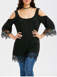 Cold Shoulder Scalloped Tunic Blouse - BLACK