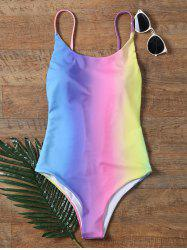 Colorful Ombre Backless One Piece Swimwear - COLORMIX