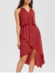 Sleeveless High Low Hem Popover Dress