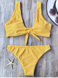 Knotted Scoop Neck Bikini Set