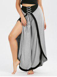 Lace Up High Slit Wide Leg Pants - LIGHT GRAY
