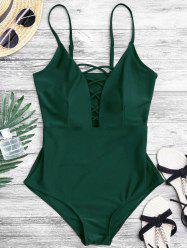 Crisscross Plunge One Piece Swimsuit - GREEN S