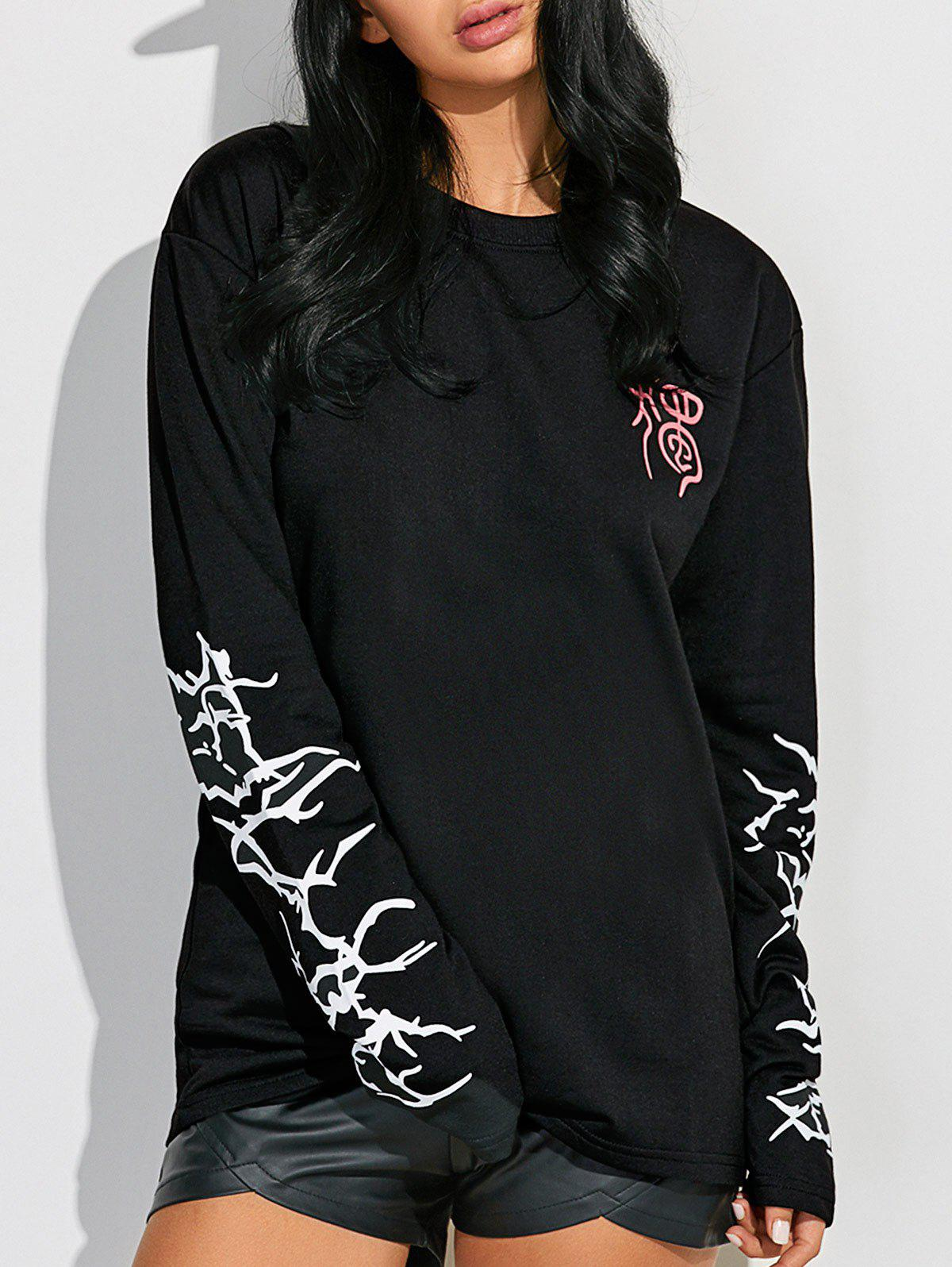 bc7cab59 18% OFF] Extra Long Sleeve Graphic Sweatshirt | Rosegal