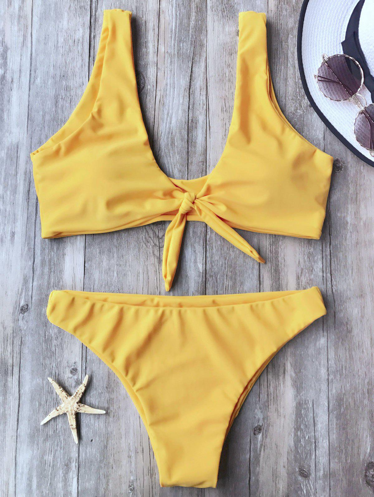 Knotted Scoop Neck Bikini SetWOMEN<br><br>Size: S; Color: YELLOW; Swimwear Type: Bikini; Gender: For Women; Material: Nylon,Polyester,Spandex; Bra Style: Padded; Support Type: Wire Free; Neckline: Scoop Neck; Pattern Type: Solid; Waist: Low Waisted; Elasticity: Elastic; Weight: 0.2000kg; Package Contents: 1 x Top  1 x Bottoms;