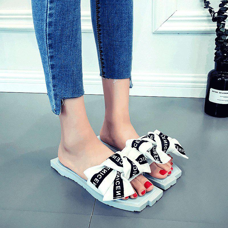 Store Bowknot Letter Pattern Slippers