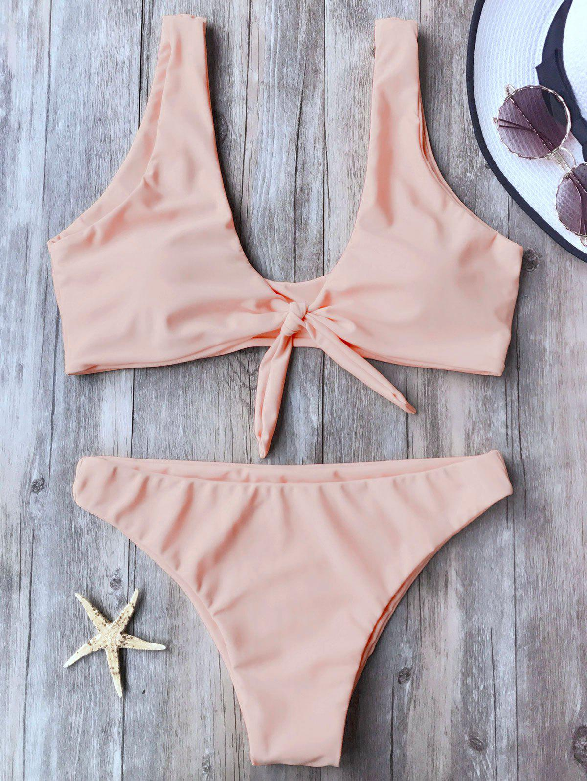 Knotted Scoop Neck Bikini SetWOMEN<br><br>Size: L; Color: PINK; Swimwear Type: Bikini; Gender: For Women; Material: Nylon,Polyester,Spandex; Bra Style: Padded; Support Type: Wire Free; Neckline: Scoop Neck; Pattern Type: Solid; Waist: Low Waisted; Elasticity: Elastic; Weight: 0.2000kg; Package Contents: 1 x Top  1 x Bottoms;