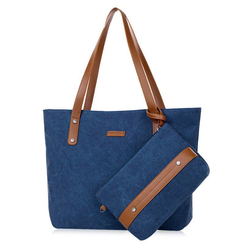 Fashion Canvas Tote with Zipper Wristlet Purse