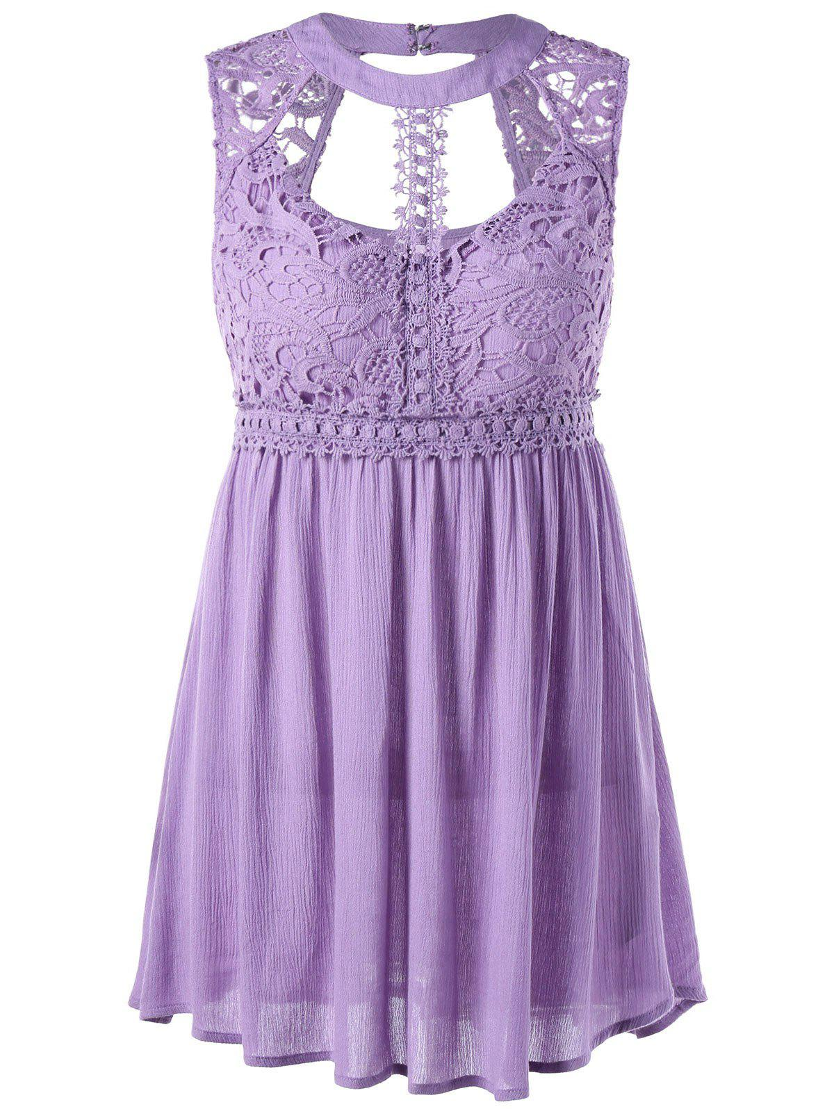 Affordable Cut Out Lace Trim Sleeveless Party Tunic Top