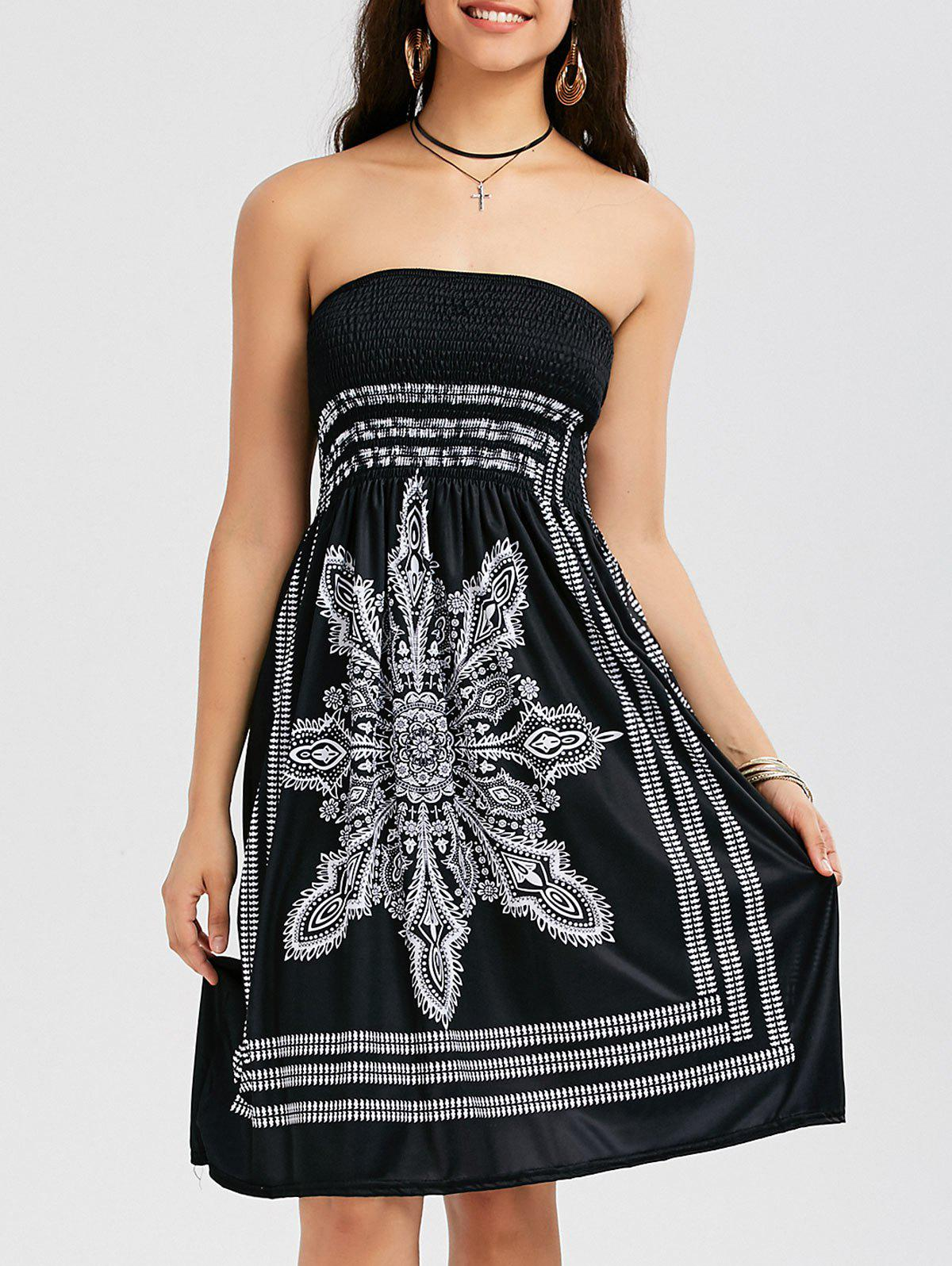 Outfit Tribal Print Bohemian Strapless Dress