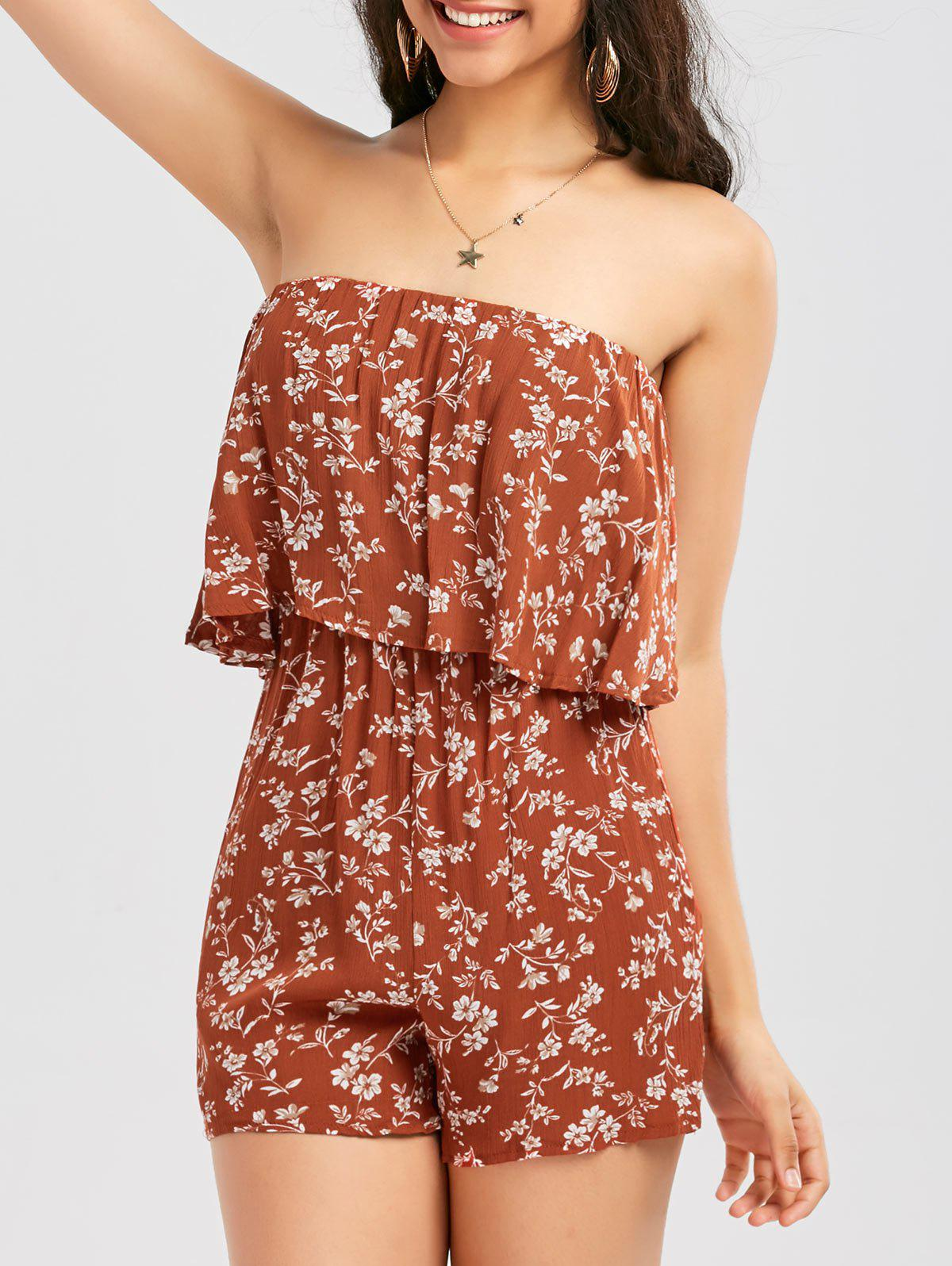 Outfits Tiny Floral Print Flounce Tube Romper