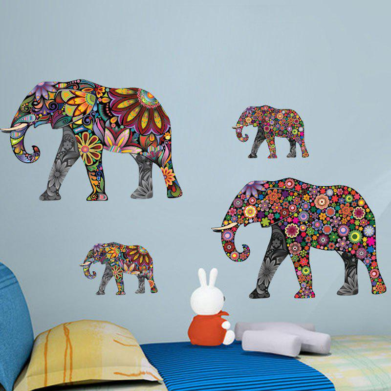 Ethnic Floral Elephant Wall Art StickerHOME<br><br>Size: 35*60CM; Color: COLORMIX; Wall Sticker Type: Plane Wall Stickers; Functions: Decorative Wall Stickers; Theme: Animals; Material: PVC; Feature: Removable; Weight: 0.1498kg; Package Contents: 1 x Wall Sticker;