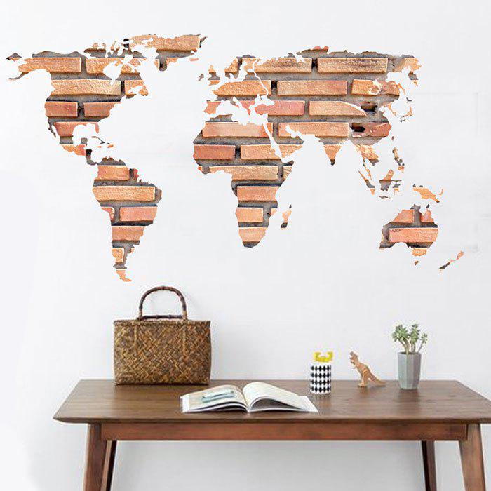 Light brown 6090cm stone brick world map wall sticker home store stone brick world map wall sticker home decoration gumiabroncs Gallery