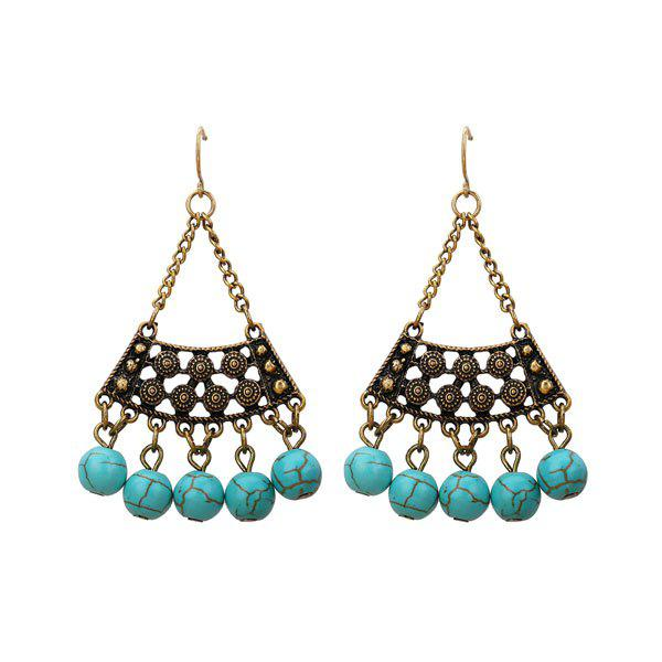 Trendy Artificial Turquoise Triangle Tribal Hook Earrings