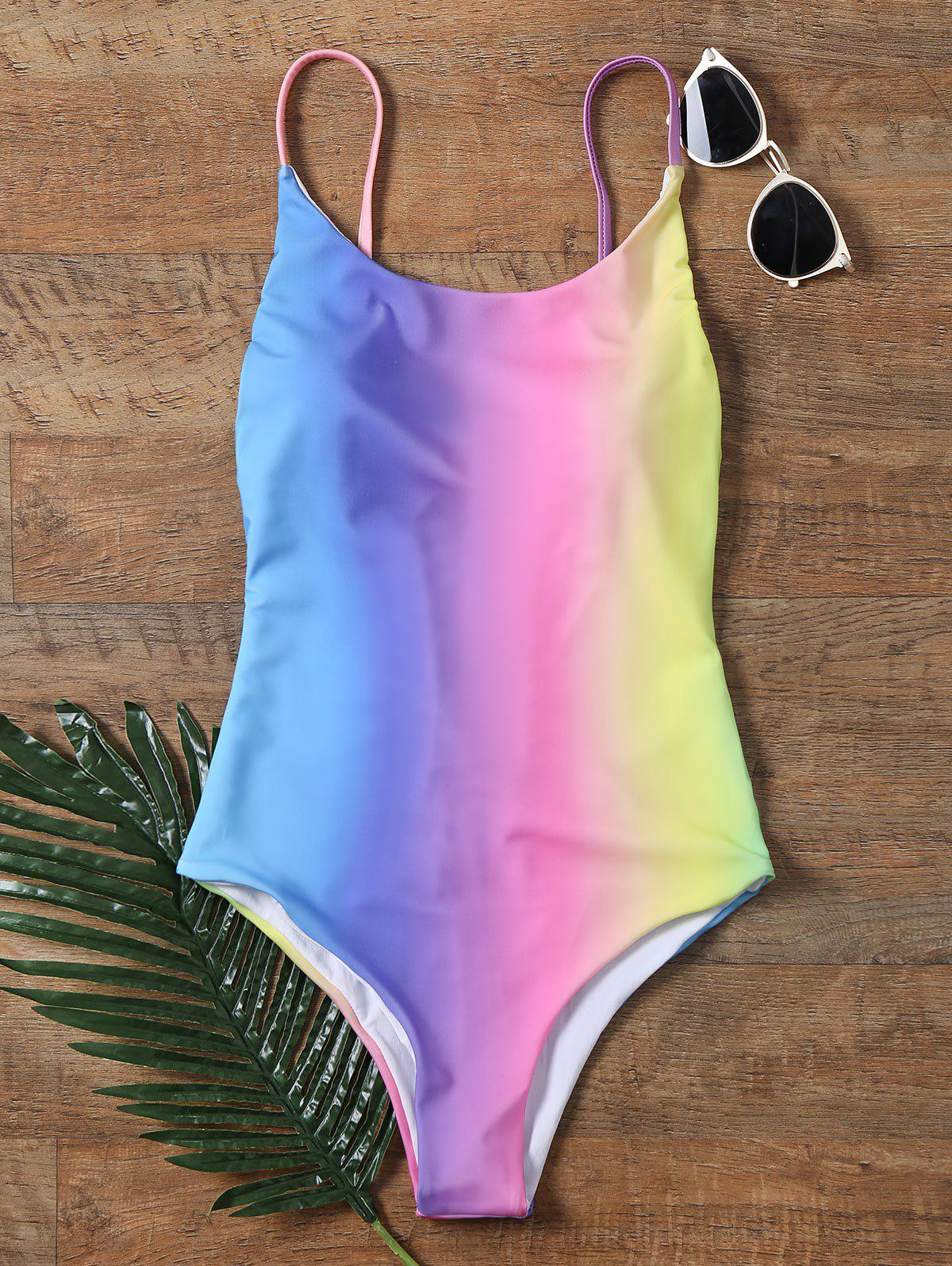 Affordable Colorful Ombre Backless One-piece Swimwear