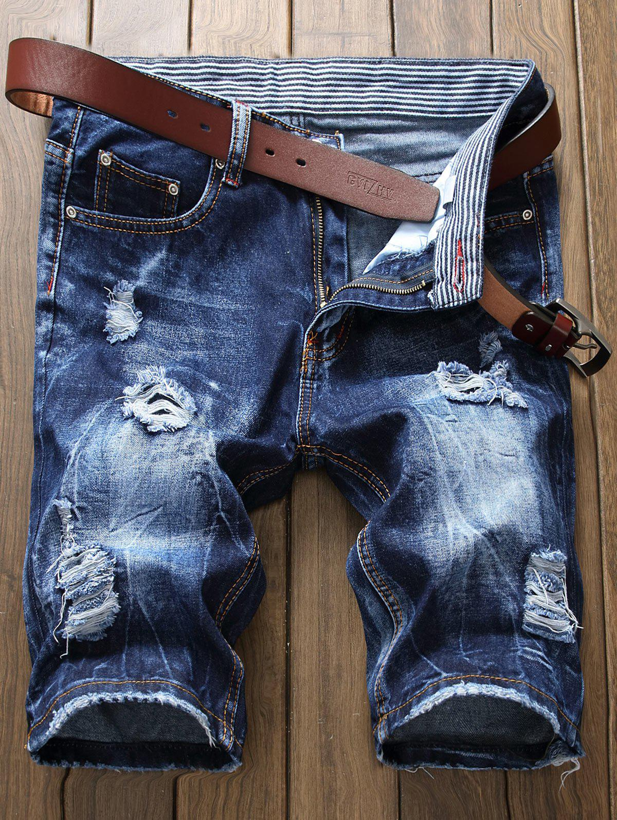 Outfits Zip Fly Distressed Frayed Hem Denim Shorts
