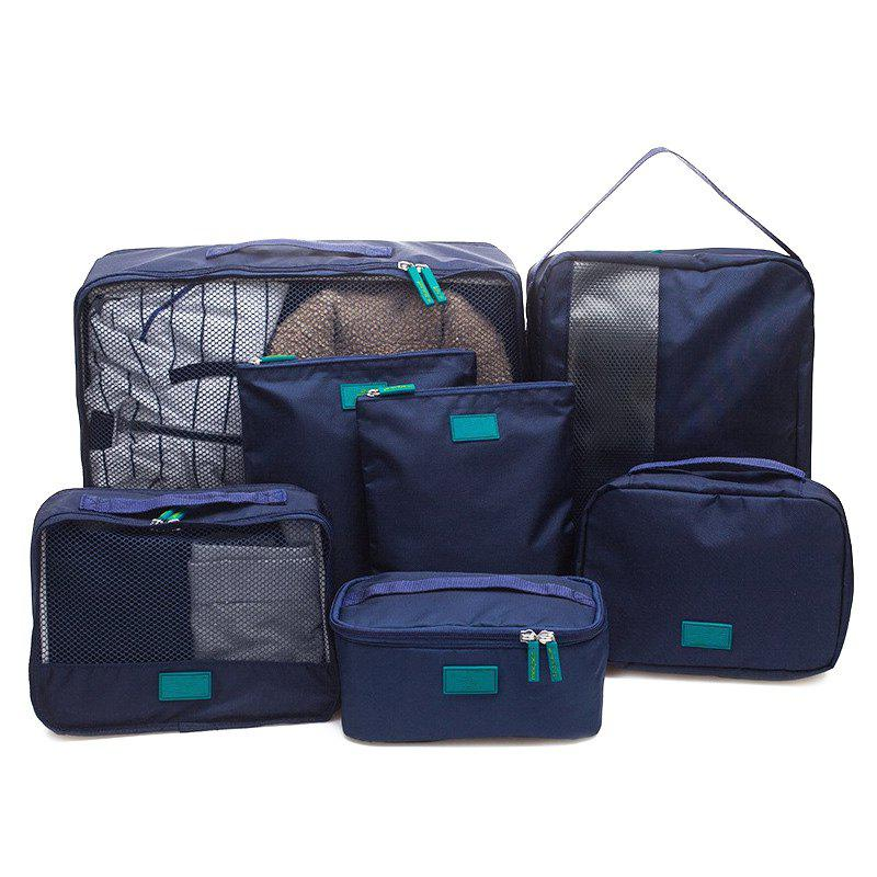 7 Set Packing Cubes Travel Luggage Organizer BagSHOES &amp; BAGS<br><br>Color: CADETBLUE; Style: Casual; Closure Type: Zipper; Pattern Type: Solid; Main Material: Nylon; Weight: 1.2000kg; Package Contents: 7 x Packing Cube;
