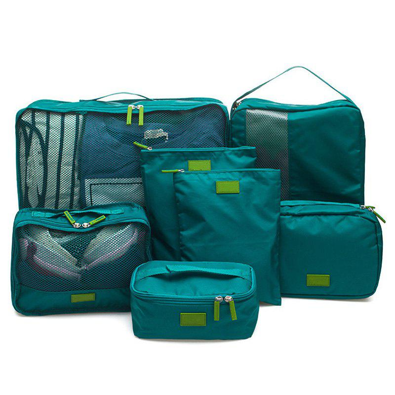 7 Set Packing Cubes Travel Luggage Organizer BagSHOES &amp; BAGS<br><br>Color: BLACKISH GREEN; Style: Casual; Closure Type: Zipper; Pattern Type: Solid; Main Material: Nylon; Weight: 1.2000kg; Package Contents: 7 x Packing Cube;