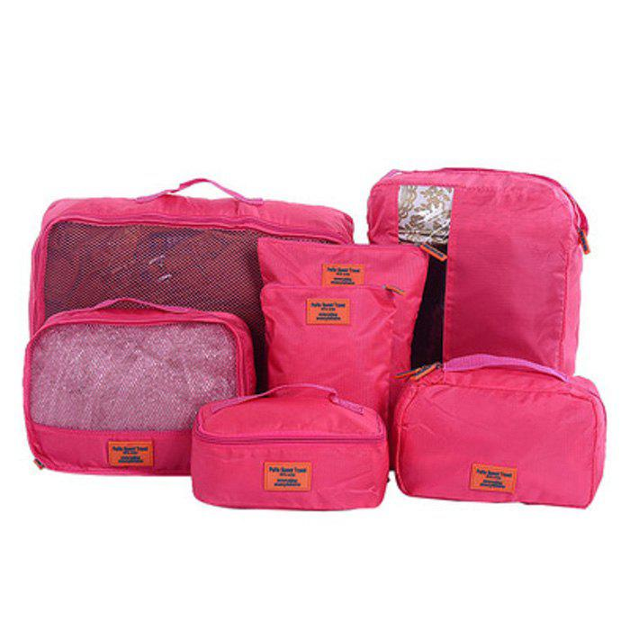 7 Set Packing Cubes Travel Luggage Organizer BagSHOES &amp; BAGS<br><br>Color: SANGRIA; Style: Casual; Closure Type: Zipper; Pattern Type: Solid; Main Material: Nylon; Weight: 1.2000kg; Package Contents: 7 x Packing Cube;