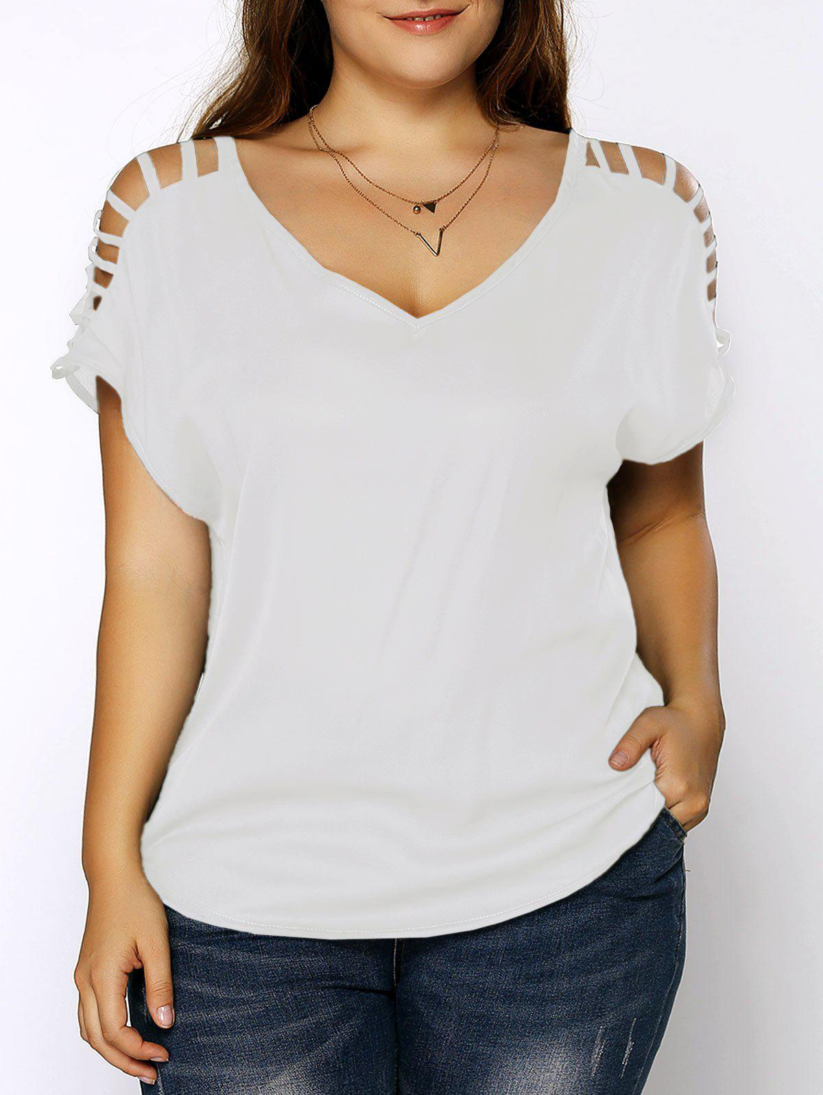 Plus Size V Neck Ripped Sleeve TeeWOMEN<br><br>Size: 5XL; Color: WHITE; Material: Cotton Blends,Polyester; Shirt Length: Regular; Sleeve Length: Short; Collar: V-Neck; Style: Fashion; Season: Summer; Pattern Type: Solid; Weight: 0.1700kg; Package Contents: 1 x T-Shirt;
