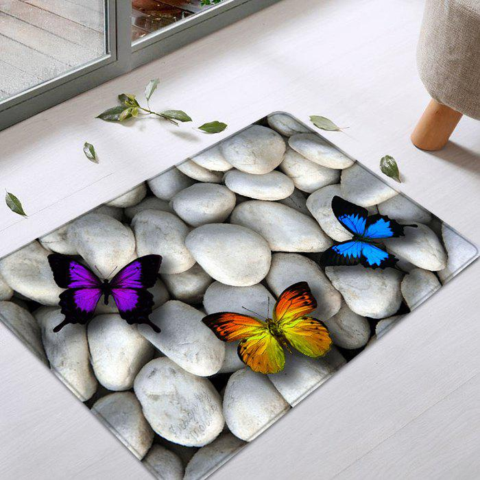 Butterfly On The Stone Pattern Anti-skid Water Absorption Area RugHOME<br><br>Size: W20 INCH * L31.5 INCH; Color: WHITE; Products Type: Bath rugs; Materials: Flannel,Plastic,Sponge; Style: Beach Style; Shape: Rectangle; Package Contents: 1 x Rug;