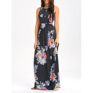 Maxi Floral Racerback Semi Formal Prom Dress - Black - 2xl