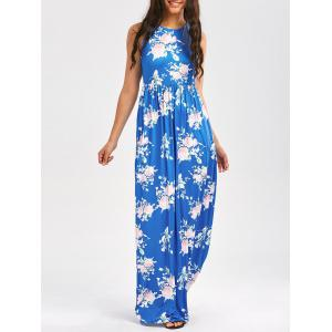 Maxi Floral Racerback Semi Formal Prom Dress - Sky Blue - Xl