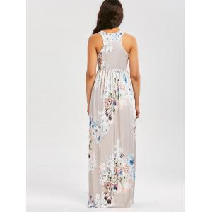 Maxi Floral Racerback Semi Formal Prom Dress - LIGHT GRAY XL