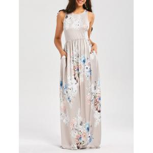 Maxi Floral Racerback Semi Formal Prom Dress - Light Gray - M