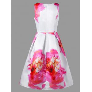 Sleeveless Fit and Flare Floral Party Dress - COLORMIX 2XL