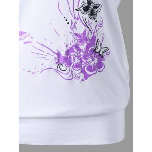 Skew Collar Butterfly and Floral T-Shirt - WHITE M
