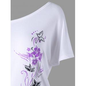Skew Collar Butterfly and Floral T-Shirt -