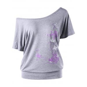 Skew Collar Butterfly and Floral T-Shirt - Gray - M