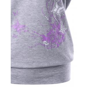 Skew Collar Butterfly and Floral T-Shirt - GRAY M