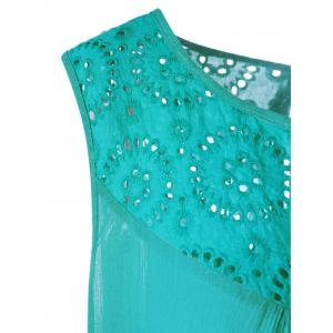 Plus Size Embroidered Trapeze Swing Dress - BLUE GREEN XL