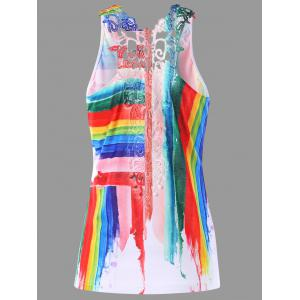 Paint Drip Striped Lace Trim Tank Top
