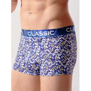 Eyelet Print U Convex Pouch Swimming Trunks -