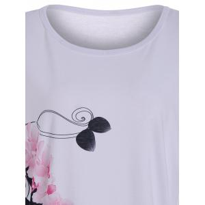 Floral High Heel Print Tunic T Shirt - WHITE L