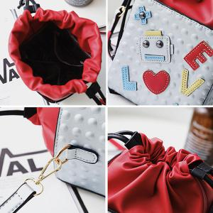Patches Drawstring Bucket Bag -