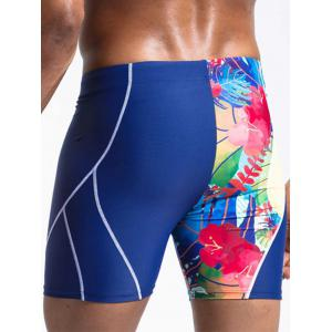 Suture Design Floral Print Panel Swimming Jammer - BLUE 2XL