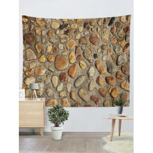 Vintage 3D Stone Wall Printed Tapestry - YELLOW W59INCH*L79INCH