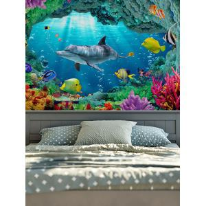 3D Sea World Print Rectangle Wall Hanging Tapestry - Ocean Blue - W79 Inch * L59 Inch