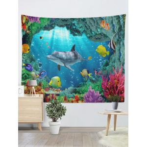 3D Sea World Print Rectangle Wall Hanging Tapestry -