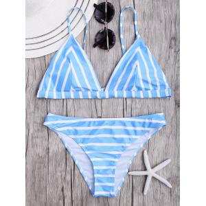 Striped Spaghetti Strap Bikini Set - Light Blue - L