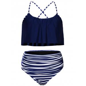 Striped High Waisted Ruffle Bikini Set