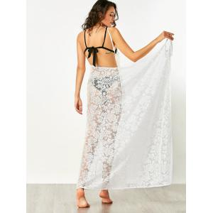 Floral Butterfly Beach Lace Cover Up Dress - WHITE L