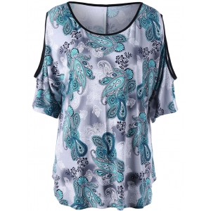 Plus Size Printed Cold Shoulder Top