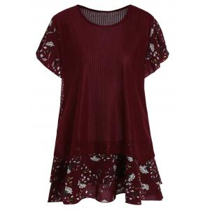 Floral Short Sleeve Plus Size Top