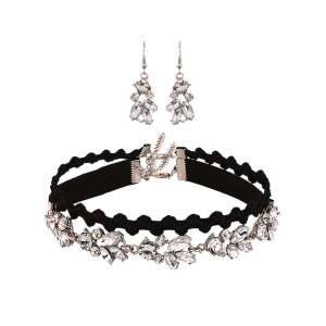 Rhinestone Layer Choker Necklace with Drop Earrings