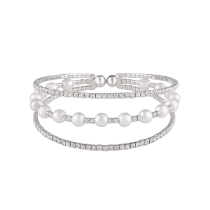 Alloy Layered Rhinestone Faux Pearl Bangle Bracelet